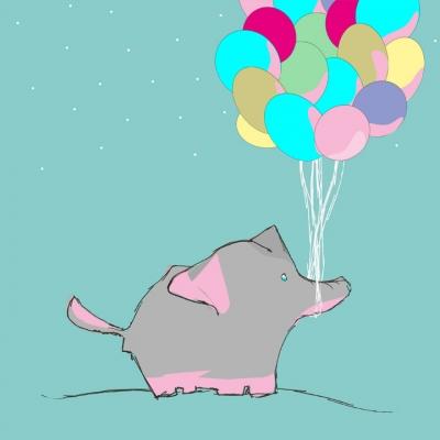 Elefant mit Luftballons .. für die digitale Wundertüte ..